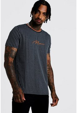 Mens Grey MAN Signature Jacquard Stripe T-Shirt