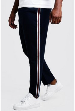 Mens Navy Big & Tall Skinny Fit Woven Side Tape Jogger