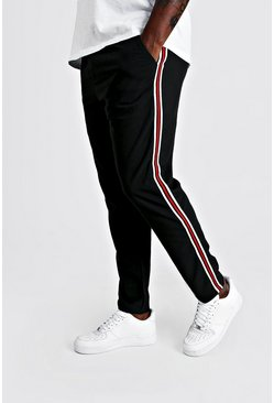 Mens Black Big & Tall Skinny Fit Woven Side Tape Jogger
