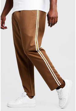 Mens Tobacco Big & Tall Skinny Fit Woven Side Tape Jogger