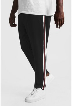 Mens Black Big & Tall Skinny Fit Woven Jogger With Tape