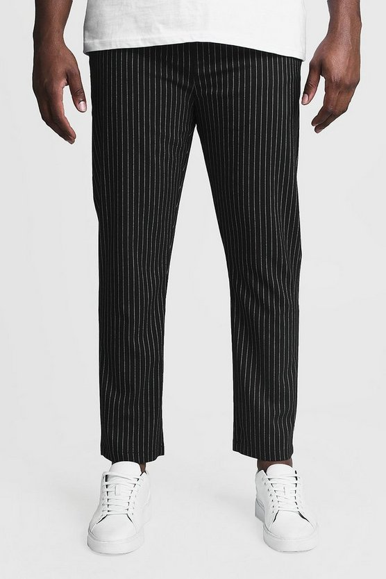 Mens Black Big & Tall Woven Pinstripe Jogger