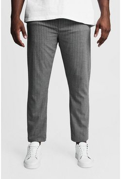 Mens Charcoal Big & Tall Woven Pinstripe Jogger