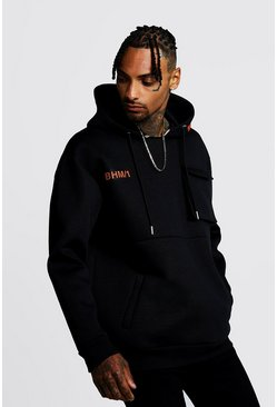 Mens Black Loose Fit BHM1 Scuba Utility OTH Hoodie