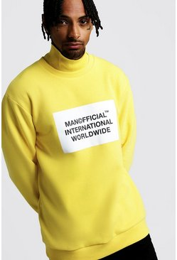 Mens Yellow Official MAN Loose Fit Funnel Neck Sweater