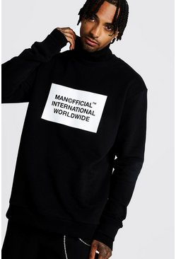 Mens Black Official MAN Loose Fit Funnel Neck Sweater