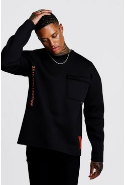 Mens Black BHM1 Scuba Loose Fit Sweatshirt