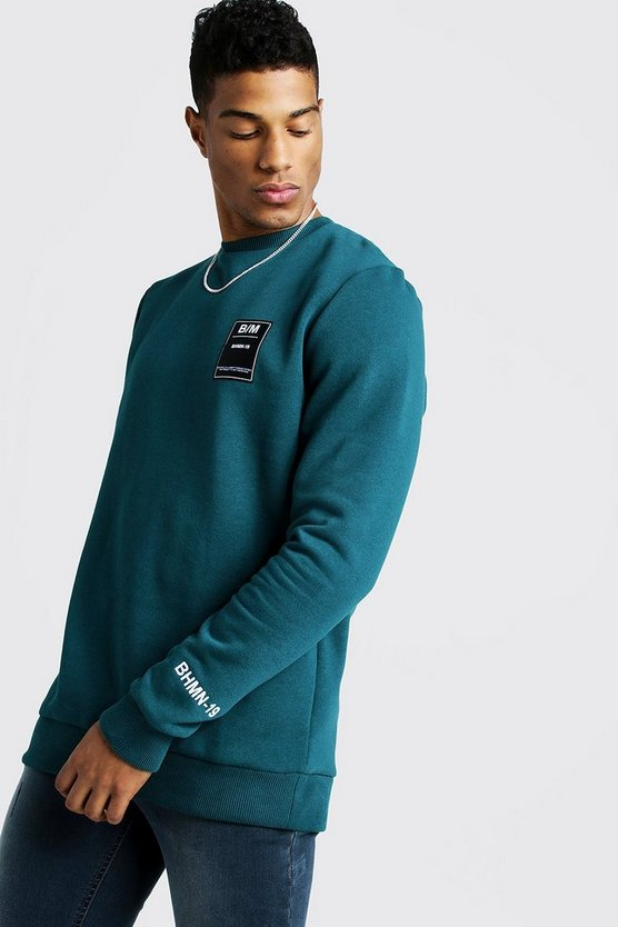 Mens Teal Crewneck Sweatshirt With BHM19 Tab