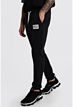 Mens Black MAN Worldwide Skinny Fit Joggers