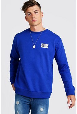 Mens Cobalt MAN Worldwide Loose Fit Sweatshirt