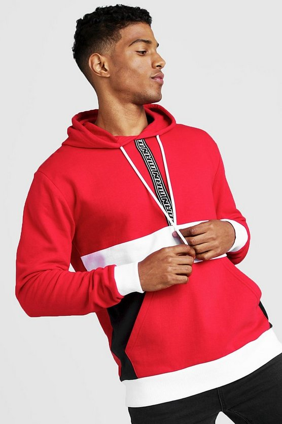 Mens Red Colour Block Hoodie With MAN Tape