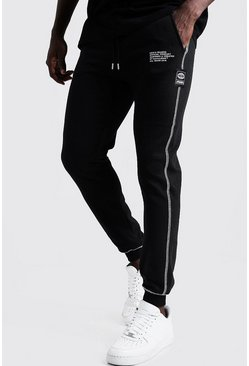 Mens Black New Season MAN Slim Fit Joggers