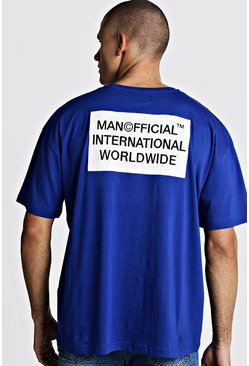 Mens Cobalt MAN Worldwide Boxy Fit T-Shirt