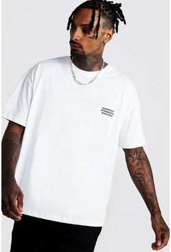 T-shirt coupe carrée MAN Worldwide, Blanc, Homme