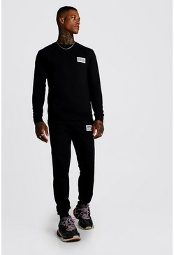 Mens Black MAN Worldwide Sweater Tracksuit