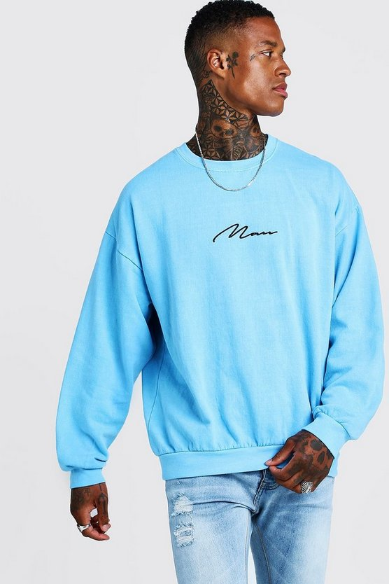 Mens Blue MAN Signature Oversized Washed Neon Sweatshirt