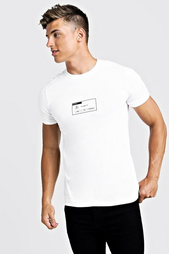 Mens White Front & Back Printed T-Shirt