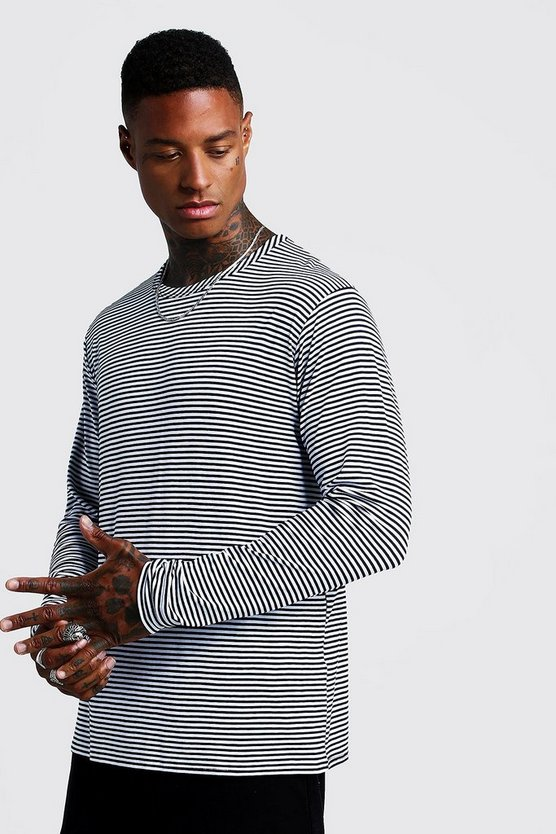 Mens Black Horizontal Stripe Long Sleeve T-Shirt