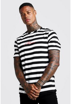 Mens Black MAN Signature Horizontal Stripe T-Shirt