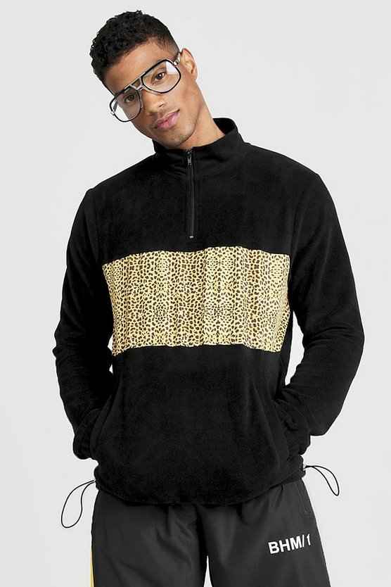 Mens Black Polar Fleece Funnel Zip Neck Sweatshirt With Print