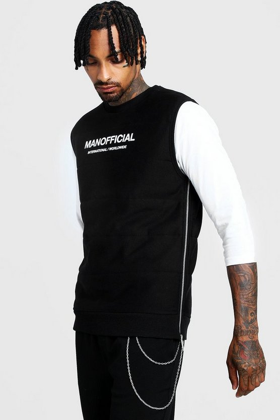 Black MAN Official Quilted Vest With Zips