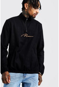Sweat col cheminée signature MAN, Orange néon, Homme