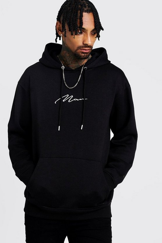 Black MAN Signature Loose Fit Over The Head Hoodie