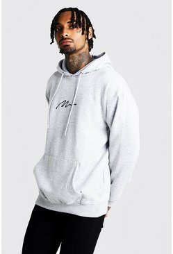 Mens Grey MAN Signature Loose Fit Over The Head Hoodie