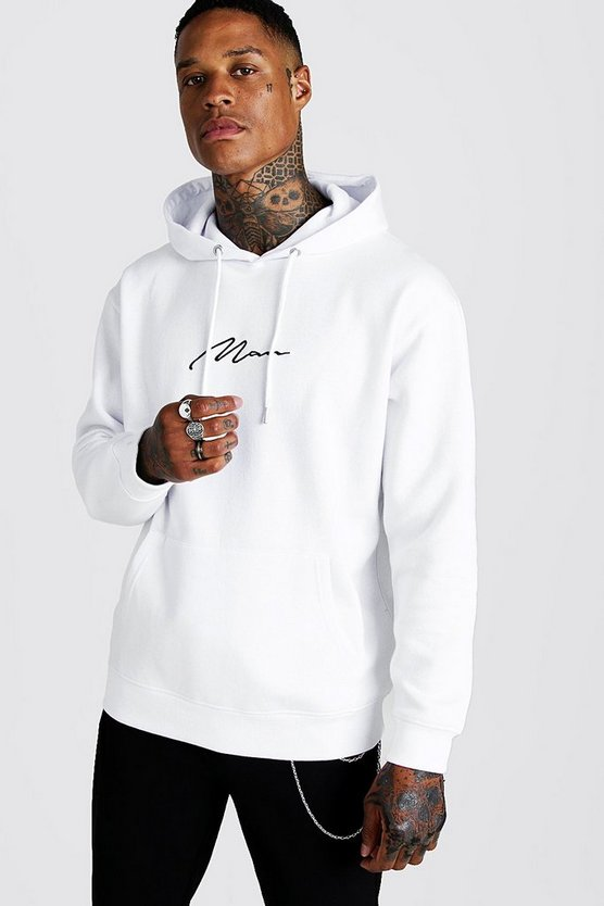 Mens White MAN Signature Loose Fit Over The Head Hoodie