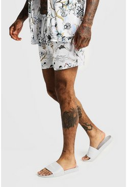 Mens White Oriental Print Mid Length Swim Short