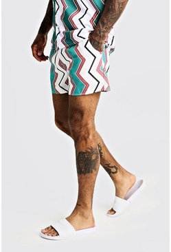 Mens White Chevron Print Mid Length Swim Short