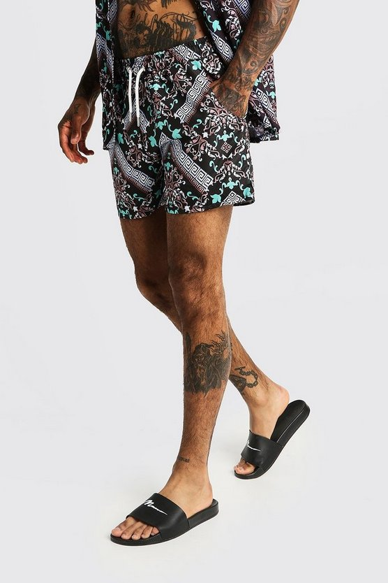 Mens Black Mosaic Print Mid Length Swim Shorts
