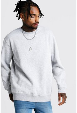 Mens Grey Loose Fit Drop Shoulder Fleece Sweatshirt