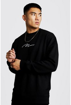 Man Signature Longline Fleece-Sweatshirt, Schwarz