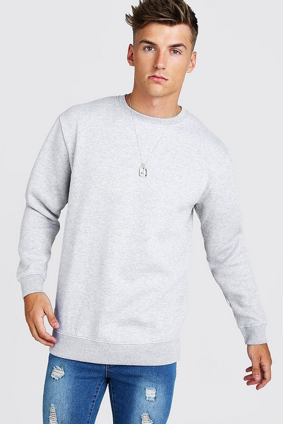 Mens Grey Longline Crew Neck Fleece Sweatshirt