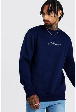 Mens Navy MAN Signature Crew Neck Fleece Sweatshirt