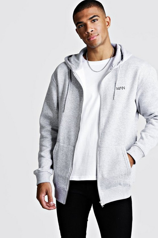 Grey Original MAN Longline Zip Thru OTH Fleece Hoodie