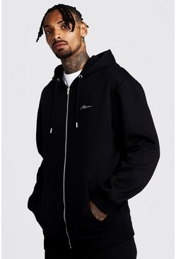 Black MAN Signature Longline Zip Thru OTH Fleece Hoodie