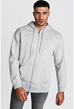 Grey Longline Zip Through Fleece Drop Shoulder Hoodie