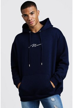 Mens Navy MAN Signature Oversized Over the head Hoodie