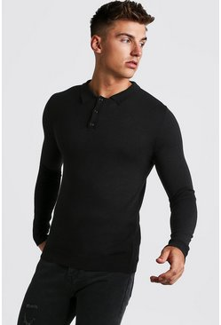 Mens Black Muscle Fit Long Sleeve Knitted Polo