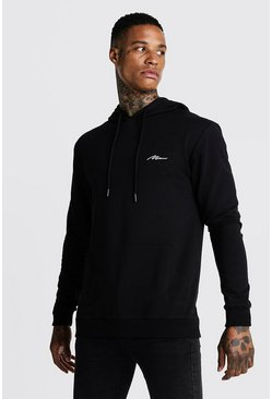 Mens Black MAN Signature Muscle Fit OTH Hoodie