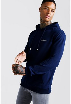 Mens Navy MAN Signature Muscle Fit OTH Hoodie