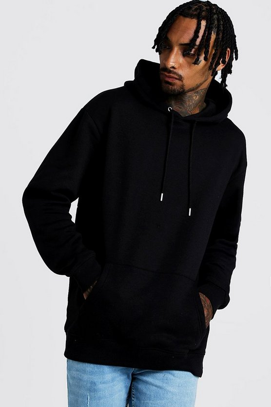 Mens Black Longline Over The Head Fleece Hoodie