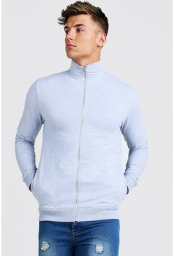 Mens Grey Muscle Fit Funnel Neck Zip Through Sweatshirt