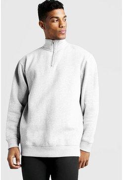 Mens Grey Funnel Neck Loose Fit Drop Shoulder 3/4 Zip Sweater