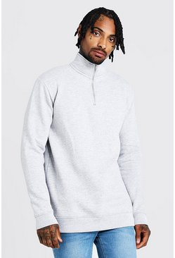 Mens Grey Funnel Neck 1/4 Zip Sweatshirt