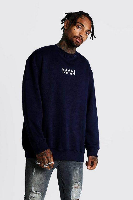 Original Man Oversized Fleece Sweatshirt by Boohoo Man