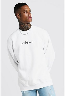 Mens White MAN Signature Oversized Fleece Sweatshirt