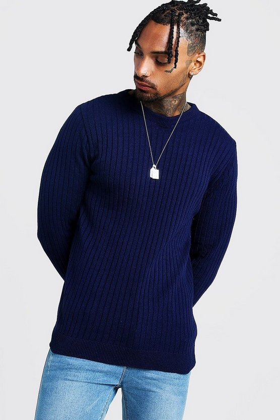 Mens Navy Muscle Fit Long Sleeve Ribbed Crew Neck Jumper